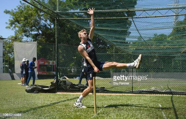 England bowler Olly Stone in action during England Nets ahead of the 3rd Test Match at the SSC cricket ground on November 21 2018 in Colombo Sri Lanka