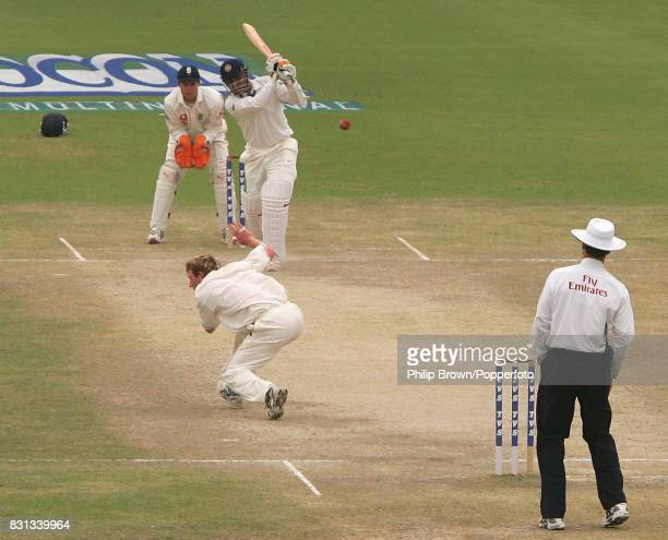 England bowler Paul Collingwood ducks to avoid a shot from India's Virender Sehwag on the last day of the 2nd Test match between India and England at...
