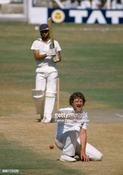 England bowler Richard Ellison appeals unsuccessfully for the wicket of Indian batsman Mohinder Amarnath during the 1st Test match between India and...