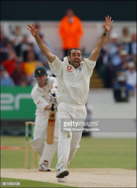 England bowler Richard Johnson appeals successfully for the wicket of Zimbabwe batsman Heath Streak during the 2nd Test match between England and...