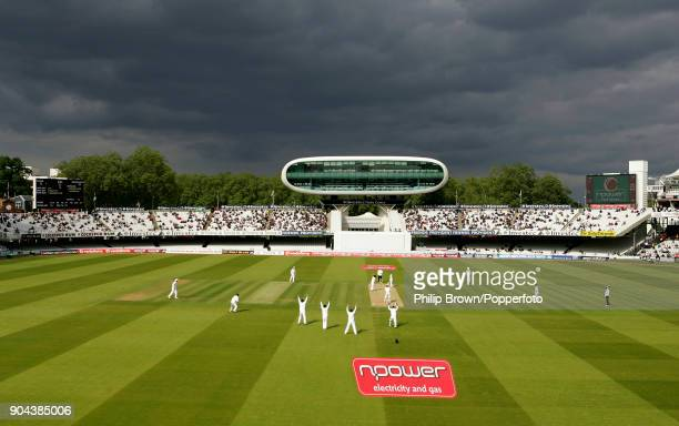 England bowler Ryan Sidebottom and the rest of the England team appeal for the wicket of New Zealand batsman Daniel Flynn as dark clouds threaten on...