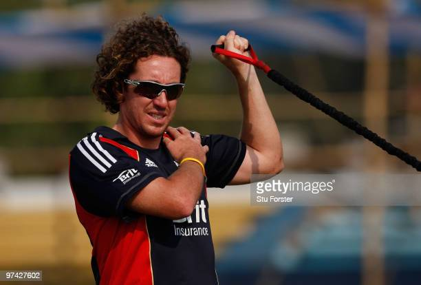 England bowler Ryan Sidebottom stretches during warm ups but is being sent home from the tour because of injury during England Nets at the Zohur...