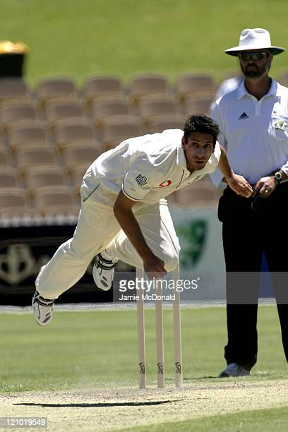 England bowler Sajid Mahmood playing South Australia in their final Tour Match before the beginning of the Ashes next week in Adelaide, Australia,...