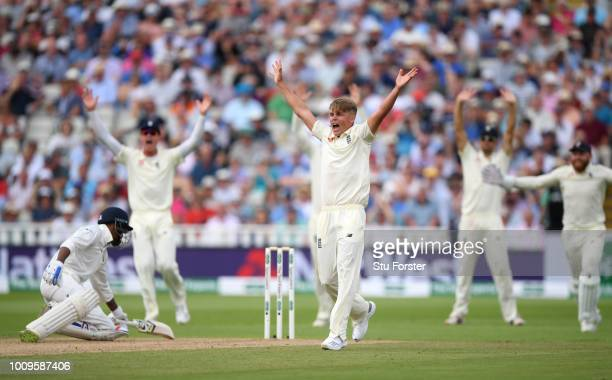 England bowler Sam Curran appeals with success for the wicket of India batsman Hardik Pandya during day two of the First Specsavers Test Match...