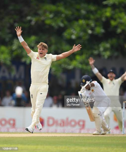 England bowler Sam Curran appeals with success for the wicket of Sri Lanka batsman Kaushal Silva during Day Two of the First Test match between Sri...