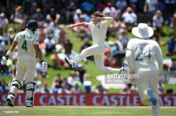 England bowler Sam Curran celebrates after taking the wicket of Aiden Markram during Day One of the First Test match between England and South Africa...