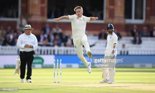 England bowler Sam Curran celebrates fater bowling Dinesh Karthik during day two of the 2nd Specsavers Test Match between England and India at Lord's...