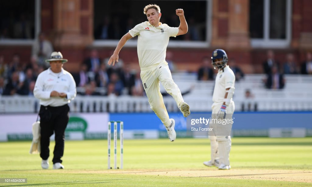 England bowler Sam Curran celebrates fater bowling Dinesh Karthik during day two of the 2nd Specsavers Test Match between England and India at Lord's Cricket Ground on August 10, 2018 in London, England.