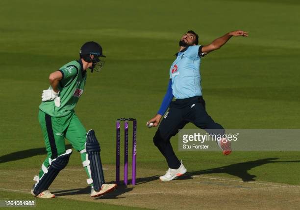 England bowler Saqib Mahmood in bowling action during the Third One Day International between England and Ireland in the Royal London Series at The...