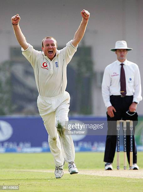 England bowler Shaun Udal celebrates after taking his first Test wicket that of Pakistan batsman Salman Butt during the first day of the First Test...