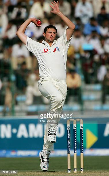 England bowler Steve Harmison bowls during the Third Day of the Third and Final Test Match between Pakistan and England at The Gaddafi Stadium on...