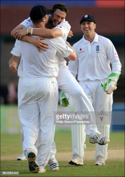 England bowler Steve Harmison celebrates with Andrew Flintoff after they combine to get the wicket of Yuvraj Singh of India during the 1st Test match...