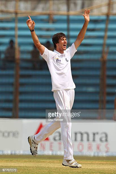 England bowler Steven Finn appeals for a wicket during day four of the 1st Test match between Bangladesh and England at Jahur Ahmed Chowdhury Stadium...