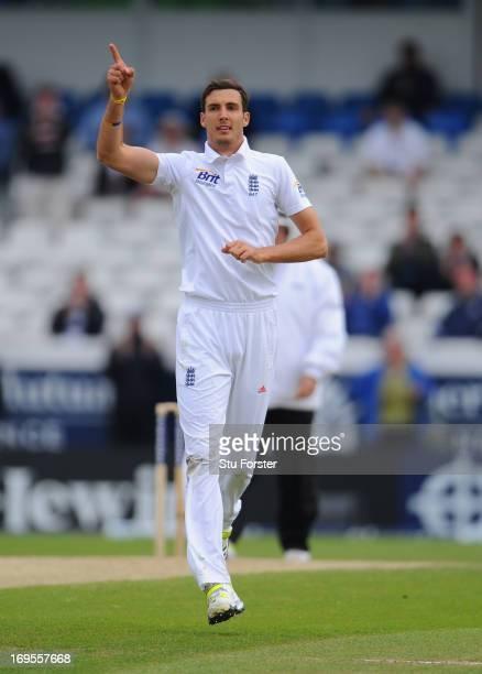 England bowler Steven Finn celebrates after dismissing New Zealand batsman Dean Brownlie during day four of 2nd Investec Test match between England...