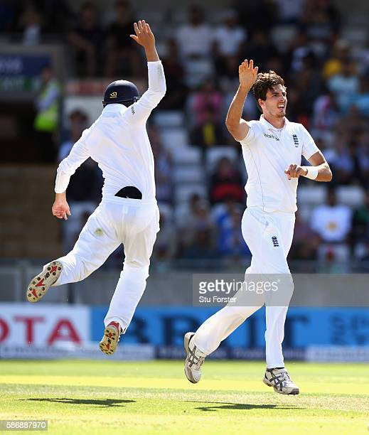 England bowler Steven Finn celebrates after taking the wicket of MisbahulHaq during day 5 of the 3rd Investec Test match between England and Pakistan...