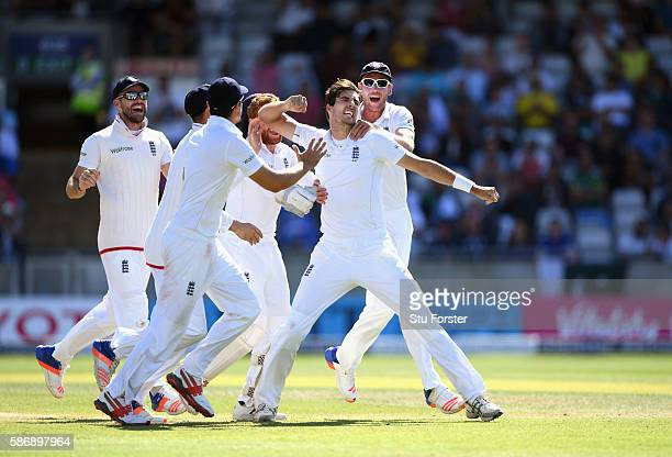 England bowler Steven Finn celebrates after taking the wicket of Sami Aslam during day 5 of the 3rd Investec Test match between England and Pakistan...