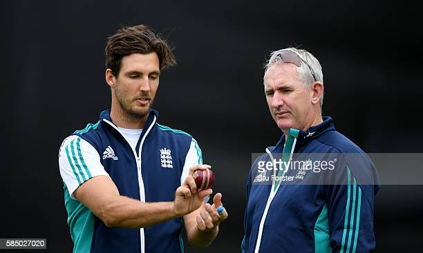 England bowler Steven Finn chats with former fast bowler Andrew Caddick during England nets at Edgbaston on August 1 2016 in Birmingham England
