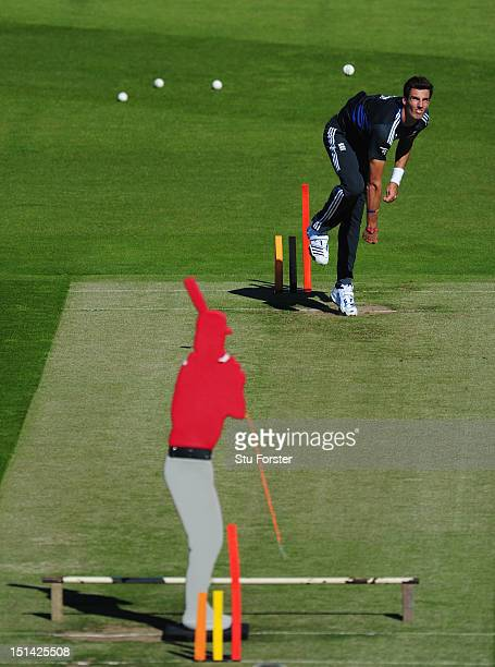 England bowler Steven Finn in action during England nets at Emirates Durham ICG on September 7 2012 in ChesterleStreet England