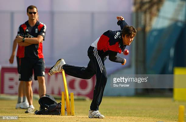 England bowler Steven Finn in action during England nets at Jahur Ahmed Chowdhury Stadium on March 11 2010 in Chittagong Bangladesh