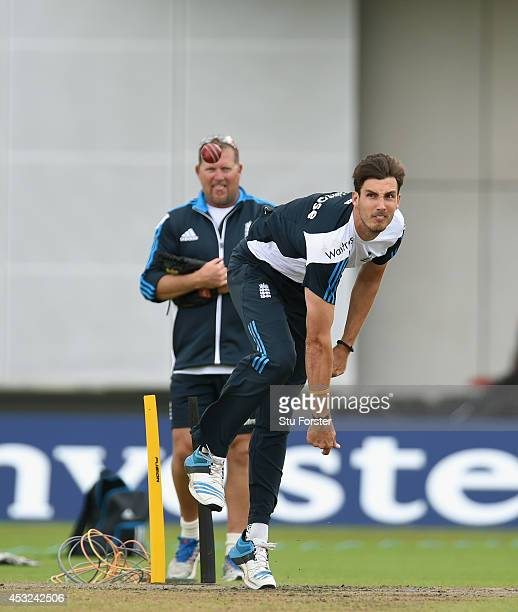 England bowler Steven Finn in action watched by bowling coach David Saker during England nets ahead of the 4th Test match between England and India,...