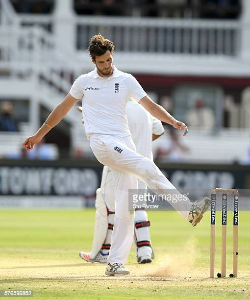 England bowler Steven Finn kicks the ground in frustration during day three of the 1st Investec Test match between England and Pakistan at Lord's...