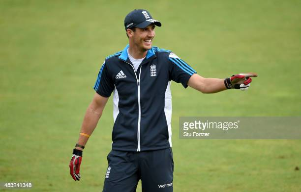England bowler Steven Finn raises a smile during England fielding practice ahead of the 4th Test match between England and India, at Old Trafford on...