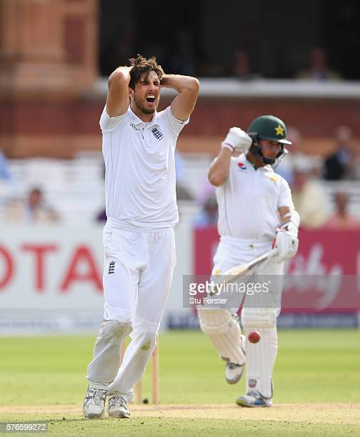 England bowler Steven Finn reacts after an lbw decision against Yasir Shah is turned down during day three of the 1st Investec Test match between...
