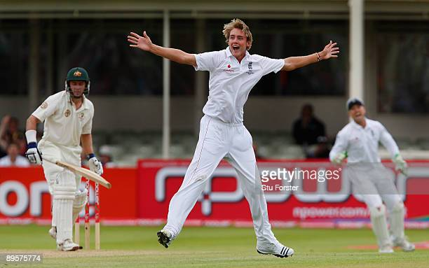 England bowler Stuart Broad and Matt Prior celebrate after taking the wicket of Michael Hussey during day five of the npower 3rd Ashes Test Match...