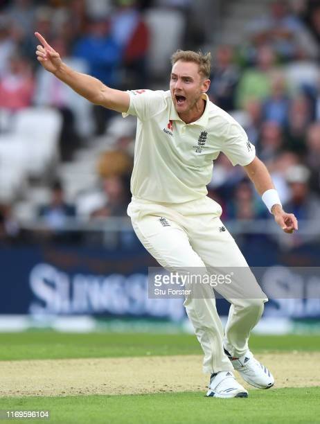 England bowler Stuart Broad appeals for the wicket of David Warner during day one of the 3rd Ashes Test match between England and Australia at...