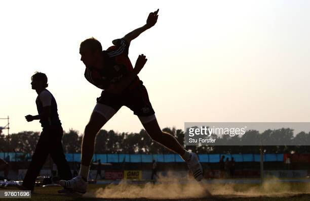 England bowler Stuart Broad bowls in the nets during England nets at Jahur Ahmed Chowdhury Stadium on March 10 2010 in Chittagong Bangladesh