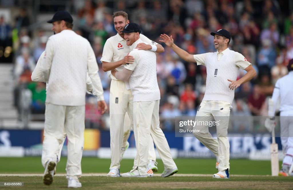 England bowler Stuart Broad celebrates after deflecting the ball in his follow through to run out Kyle Hope during day five of the 2nd Investec Test Match between England and West Indies at Headingley on August 29, 2017 in Leeds, England.