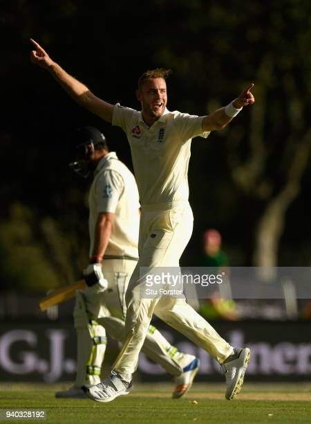 England bowler Stuart Broad celebrates after dismissing Colin de Grandhomme during day two of the Second Test Match between the New Zealand Black...