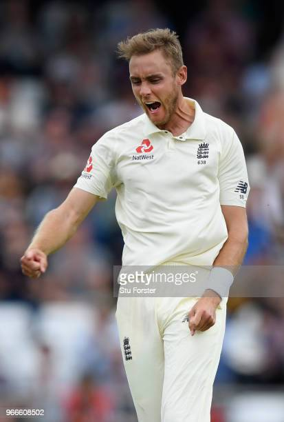 England bowler Stuart Broad celebrates after dismissing Hasan Ali during day three of the 2nd Test Match between England and Pakistan at Headingley...