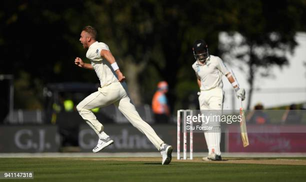England bowler Stuart Broad celebrates after dismissing Kane Williamson first ball during day five of the Second Test Match between the New Zealand...
