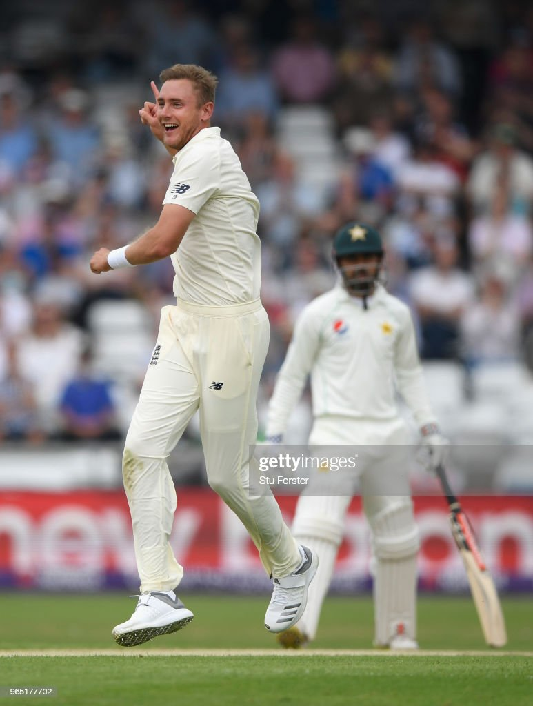 England bowler Stuart Broad celebrates after dismissing Pakistan batsman Usman Salahuddin during day one of the second Test Match between England and Pakistan at Headingley on June 1, 2018 in Leeds, England.