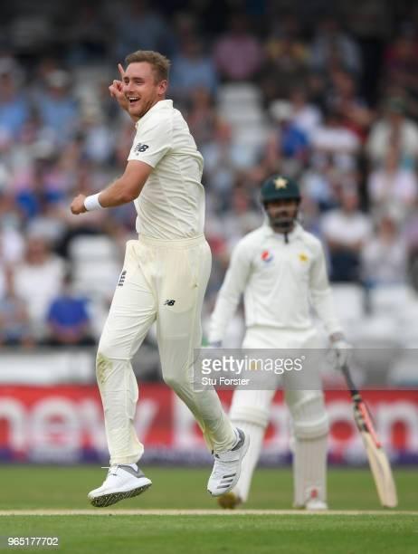 England bowler Stuart Broad celebrates after dismissing Pakistan batsman Usman Salahuddin during day one of the second Test Match between England and...