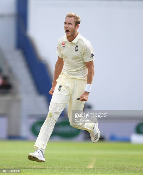 England bowler Stuart Broad celebrates after dismissing Shikhar Dhawan during day 3 of the First Specsavers Test Match at Edgbaston on August 3 2018...
