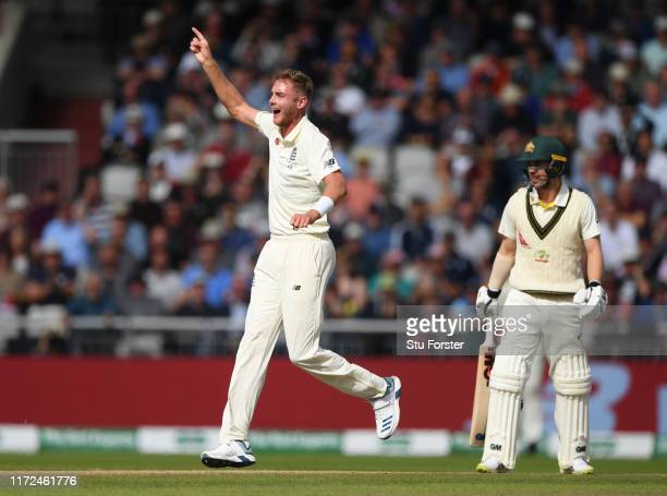 England bowler Stuart Broad celebrates after taking the wicket of Travis Head during day two of the 4th Ashes Test Match between England and...
