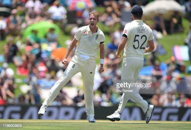 England bowler Stuart Broad celebrates after taking the wicket of South Africa batsman Zubayr Hamza during Day One of the First Test match between...