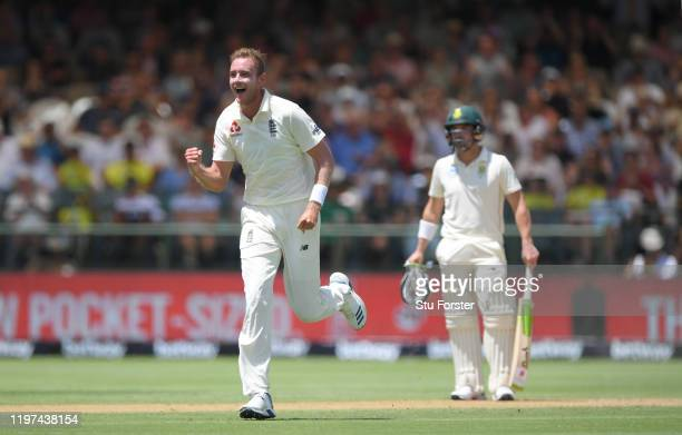 England bowler Stuart Broad celebrates after taking the wicket of Hamza during Day Two of the Second Test between South Africa and England at...
