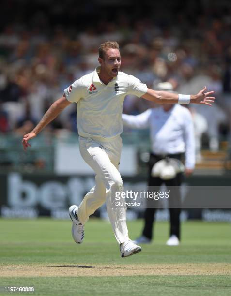 England bowler Stuart Broad celebrates after taking the wicket of Rassie van der Dussen only to have it overturned for a no ball during Day Two of...