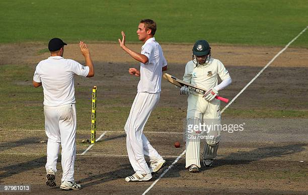 England bowler Stuart Broad celebrates after taking the wicket of Bangladesh batsman Mushfiqur Rahim during day four of the 2nd Test match between...