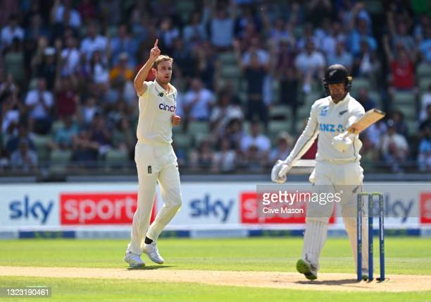 England bowler Stuart Broad celebrates after taking the wicket of Tom Blundell for 34 runs during day three of the second LV= Insurance Test Match...