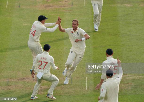 England bowler Stuart Broad celebrates taking the wicket of Australia batsman David Warner on Day two at Lord's Cricket Ground on August 15 2019 in...
