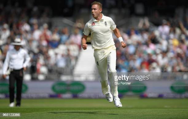 England bowler Stuart Broad celebrates the wicket of Imam UlHaq during day one of the second Test Match between England and Pakistan at Headingley on...