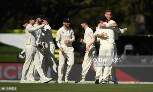 England bowler Stuart Broad celebrates with team mates after dismissing Kane Williamson first ball during day five of the Second Test Match between...
