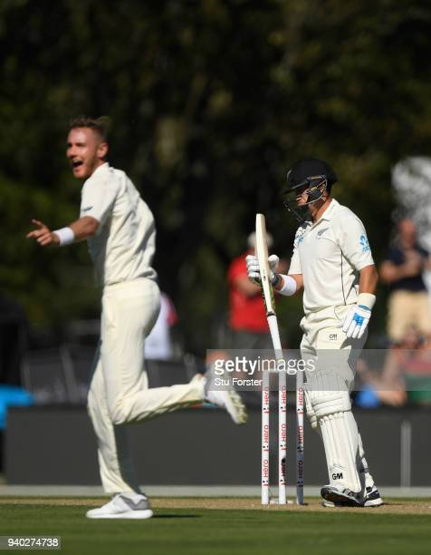 England bowler Stuart Broad dismisses batsman Ross Taylor during day two of the Second Test Match between the New Zealand Black Caps and England at...