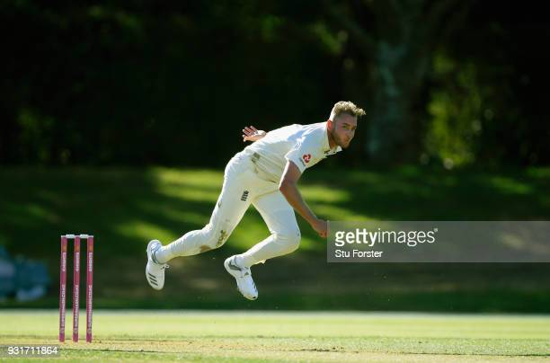 England bowler Stuart Broad in action during day one of the Test warm up match between England and New Zealand Cricket XI at Seddon Park on March 12...
