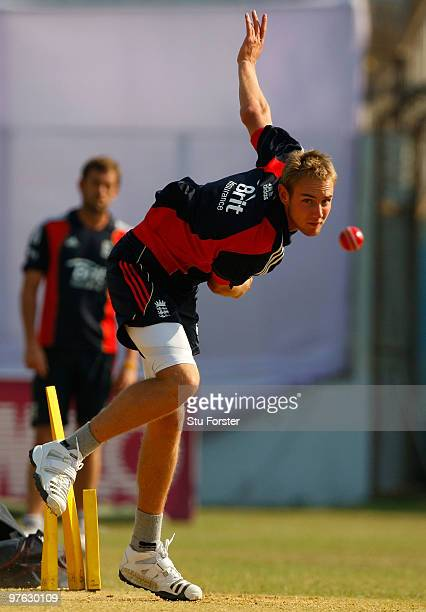 England bowler Stuart Broad in action during England nets at Jahur Ahmed Chowdhury Stadium on March 11 2010 in Chittagong Bangladesh