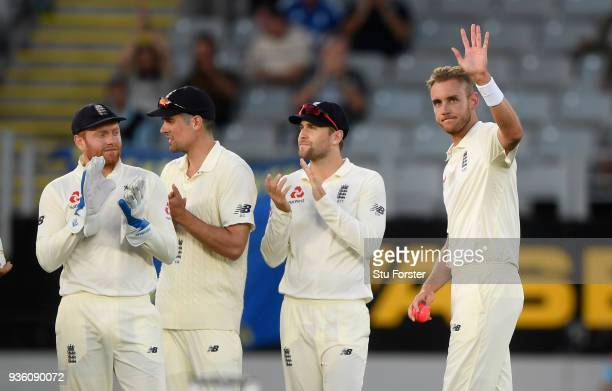 England bowler Stuart Broad reacts after taking his 400th test match wicket during the First Test Match between the New Zealand Black Caps and...